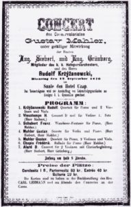 1876 Concert Jihlava 12-09-1876 - Sonata for violin and piano, Quartet for piano, 2 violins and viola (piano)