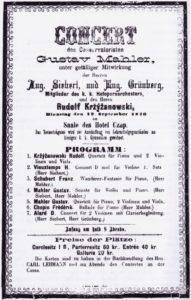 1876 Concert Jihlava 12-09-1876 - Sonata for violin and piano, Quartet for piano, 2 violins and viola (piano)