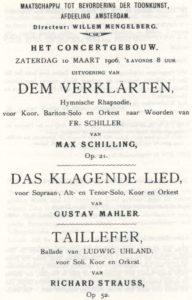 1906 Concert Amsterdam 10-03-1906 - Das Klagende Lied