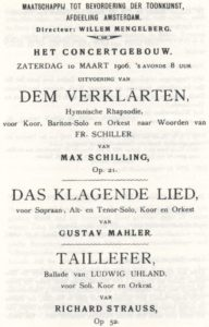 1906 حفلة أمستردام 10-03-1906 - Das klagende Lied