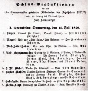 1878 Concert Vienna 11-07-1878 - Piano quintet (Premiere, piano)
