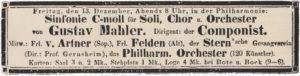 1895 Concierto Berlín 13-12-1895 - Sinfonía n. ° 2 (Estreno)
