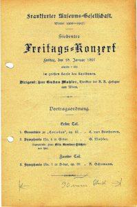 Koncert 1907 ve Frankfurtu nad Mohanem 18. 01. 1907 - symfonie č. 4