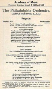 حفل 1916 في فيلادلفيا 02-03-1916 - السمفونية رقم 8 (بعد الوفاة)