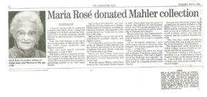 Gustav Mahler-Alfred Rosé Collection - Donation