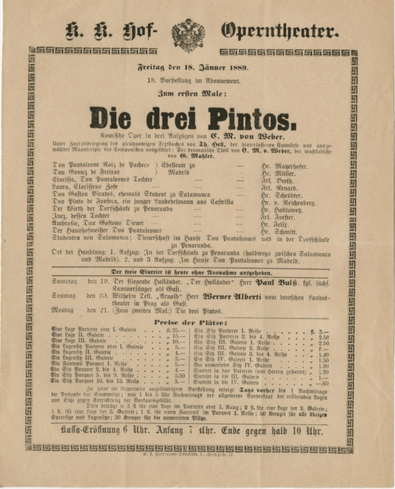 Compositions unfinished, completed by Mahler (1) (Die drei Pintos)